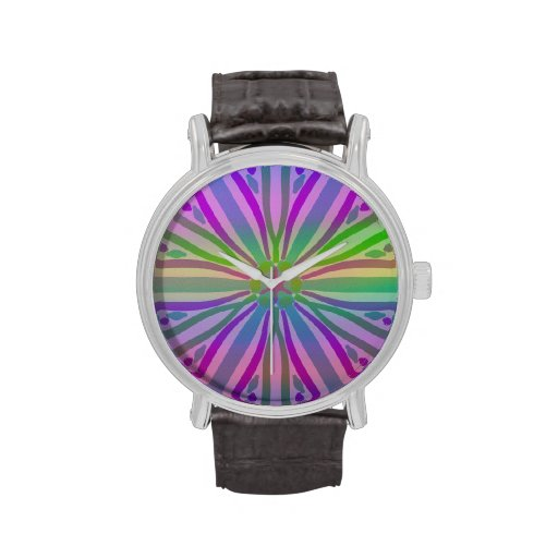 Rainbow Colorful Pastel Star Flower Abstract Art Wristwatch