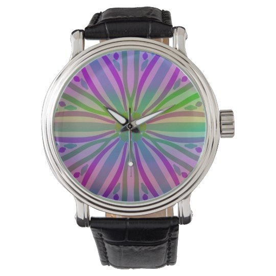 Rainbow Colorful Pastel Star Flower Abstract Art Wrist Watch