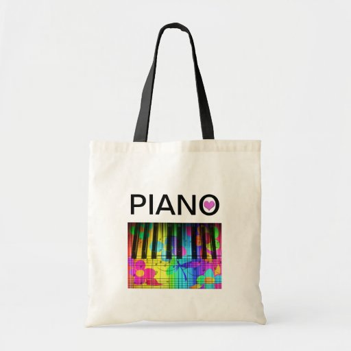 Rainbow Colorful Piano Keyboard and Notes Budget Tote Bag
