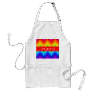 Rainbow Colors #2 LG Chevron Brt Red Name Monogram Adult Apron