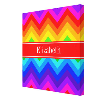 Rainbow Colors #2 LG Chevron Brt Red Name Monogram Canvas Print