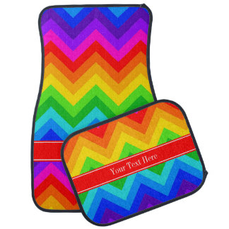 Rainbow Colors #2 LG Chevron Brt Red Name Monogram Car Floor Mat