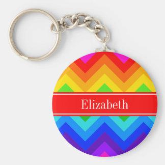 Rainbow Colors #2 LG Chevron Brt Red Name Monogram Keychain