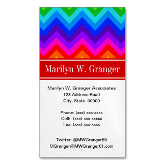 Rainbow Colors #2 LG Chevron Brt Red Name Monogram Magnetic Business Card