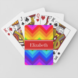 Rainbow Colors #2 LG Chevron Brt Red Name Monogram Playing Cards