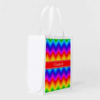 Rainbow Colors #2 LG Chevron Brt Red Name Monogram Reusable Grocery Bag