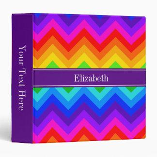 Rainbow Colors #2 LG Chevron Purple Name Monogram 3 Ring Binder