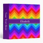 Rainbow Colors #2 LG Chevron Purple Name Monogram Binders
