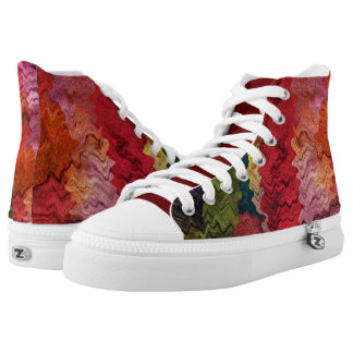 Rainbow Colors Abstract High Top Printed Shoes