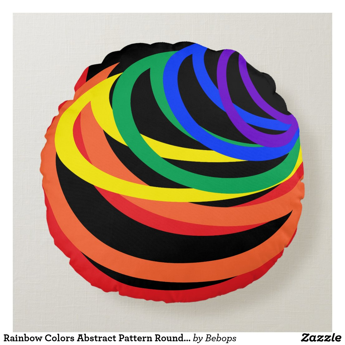 Rainbow Colors Abstract Pattern Round Pillow
