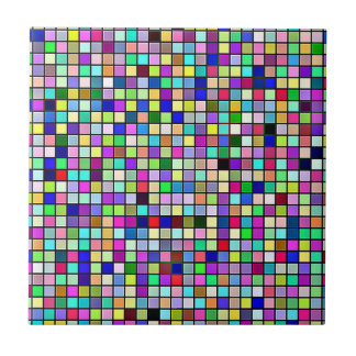 Rainbow Colors And Pastels Square Tiles Pattern