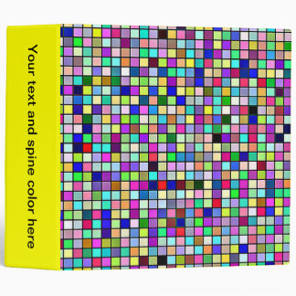 Rainbow Colors And Pastels Square Tiles Pattern Binder
