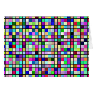 Rainbow Colors And Pastels Square Tiles Pattern Card