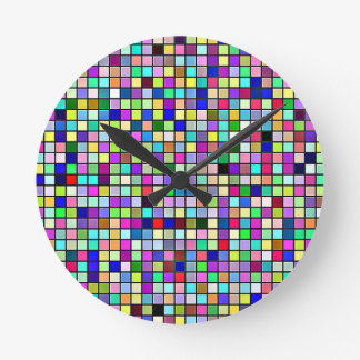 Rainbow Colors And Pastels Square Tiles Pattern Wallclock