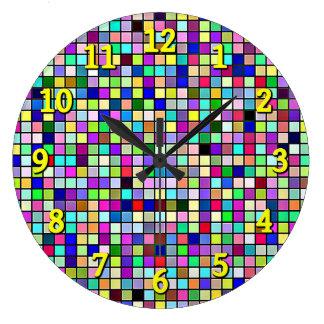 Rainbow Colors And Pastels Square Tiles Pattern Wallclocks