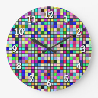 Rainbow Colors And Pastels Square Tiles Pattern Clocks