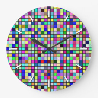 Rainbow Colors And Pastels Square Tiles Pattern Wall Clocks