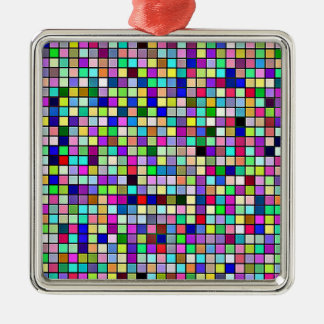 Rainbow Colors And Pastels Square Tiles Pattern Metal Ornament