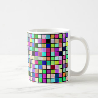 Rainbow Colors And Pastels Square Tiles Pattern Mug