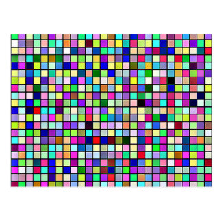 Rainbow Colors And Pastels Square Tiles Pattern Postcard