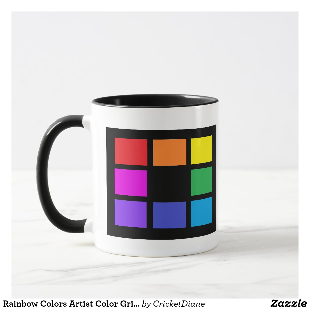 Rainbow Colors Artist Color Grid Artsy Studio Mugs