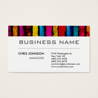 Rainbow Colors Black White Charming Business Card