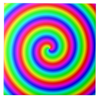 Rainbow Colors. Bright and Colorful Spiral. Ceramic Tile