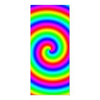 Rainbow Colors. Bright and Colorful Spiral. 4x9.25 Paper Invitation Card