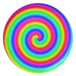 Rainbow Colors. Bright and Colorful Spiral. Melamine Plate