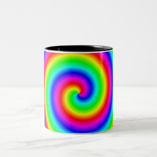 Rainbow Colors. Bright and Colorful Spiral. Coffee Mugs