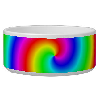 Rainbow Colors. Bright and Colorful Spiral. Dog Water Bowls