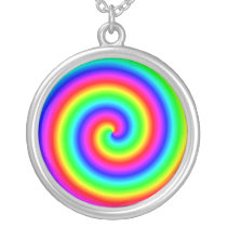 Rainbow Colors. Bright and Colorful Spiral. Silver Plated Necklace