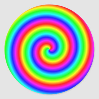 Rainbow Colors. Bright and Colorful Spiral. Round Sticker