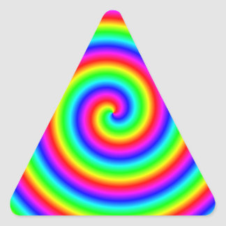 Rainbow Colors. Bright and Colorful Spiral. Triangle Sticker
