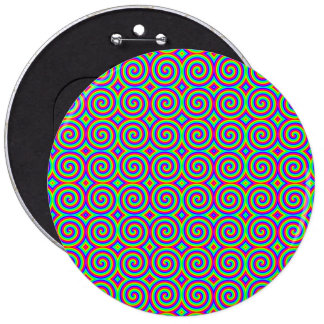 Rainbow Colors. Bright and Colorful Spirals. 6 Inch Round Button