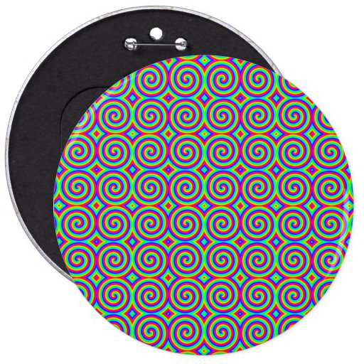 Rainbow Colors. Bright and Colorful Spirals. Pinback Buttons