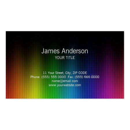 Striped Rainbow Spectrum Colors on Black Artistic Business Cards