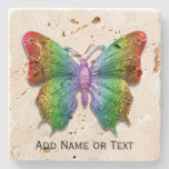 Rainbow Colors Butterfly Custom Name or Text Stone Coaster