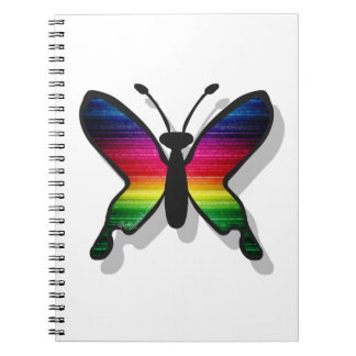 Rainbow Colors Butterfly Spiral Note Book