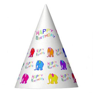 Rainbow Colors Cartoon Elephants Kid's Birthday Party Hat