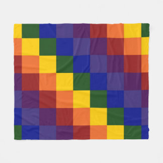 Rainbow Colors Checkered Pattern Fleece Blanket