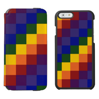 Rainbow Colors Checkered Pattern Incipio Watson™ iPhone 6 Wallet Case