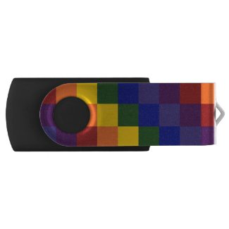 Rainbow Colors Checkered Pattern Swivel USB 3.0 Flash Drive