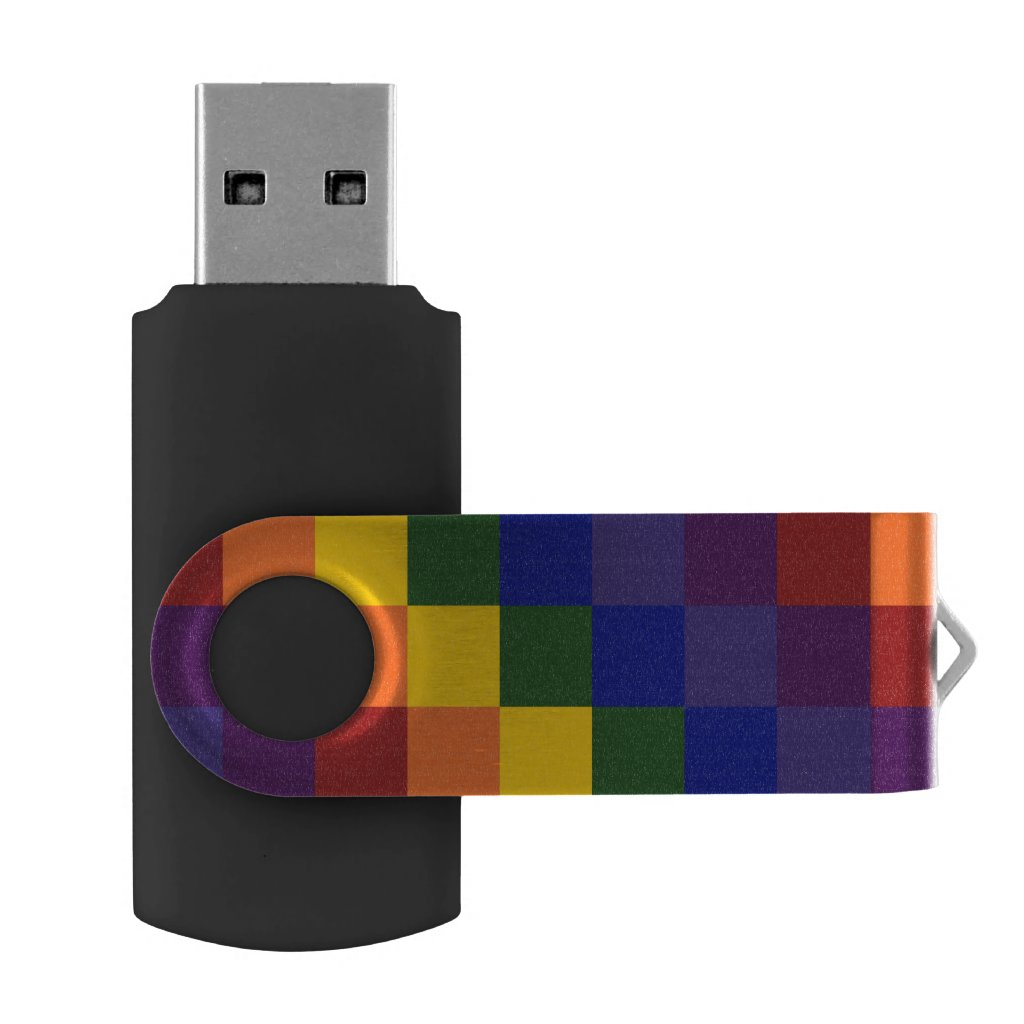 Rainbow Colors Checkered Pattern USB Flash Drive