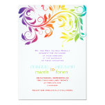 Rainbow colors colorful scroll leaf wedding 5x7 paper invitation card