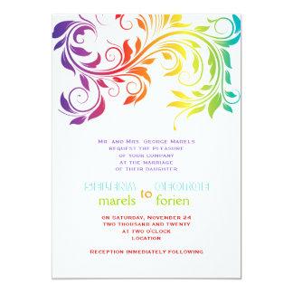 "Rainbow colors colorful scroll leaf wedding 5"" x 7"" invitation card"