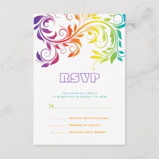 Rainbow colors colorful scroll leaf wedding RSVP