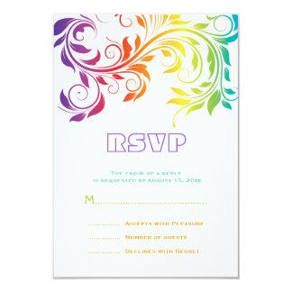 Rainbow colors colorful scroll leaf wedding RSVP Card