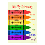 "Rainbow Colors Crayons Birthday Party 5"" X 7"" Invitation Card"