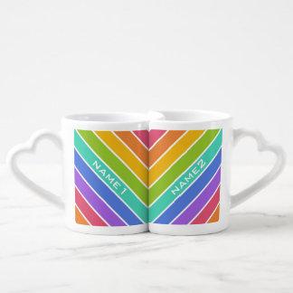 Rainbow Colors custom couple's mugs